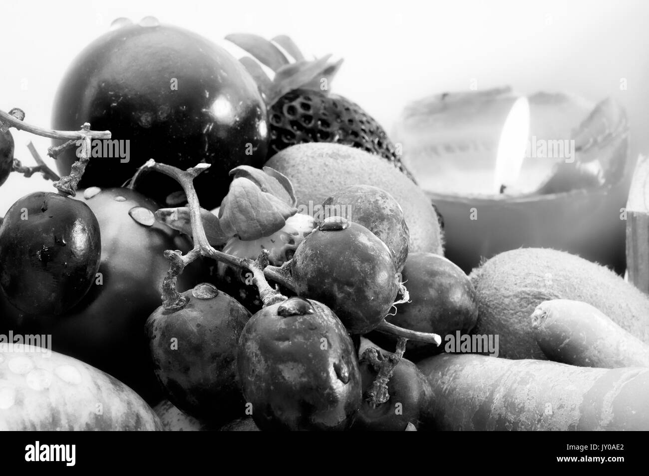 Fruit vegetables black and white stock photos images alamy