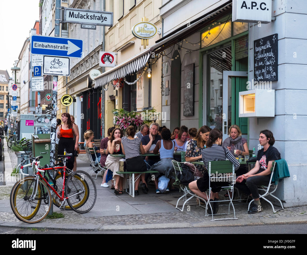 Exterior of APC Italian restaurant in fashionable Mitte district of Berlin, Germany - Stock Image
