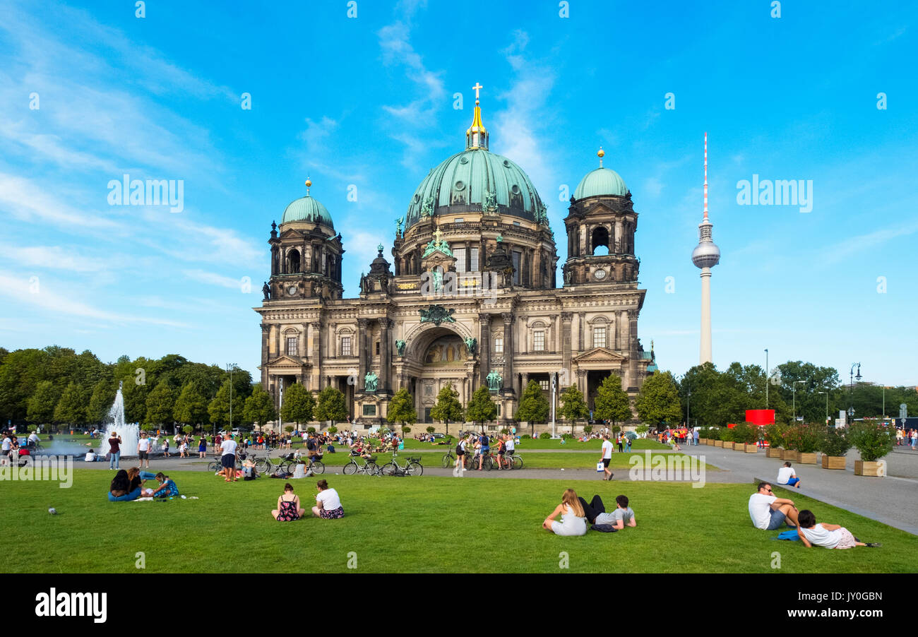 View of Berlin Cathedral (Berliner Dom) and Lustgarten square in summer in Mitte, Berlin, Germany - Stock Image