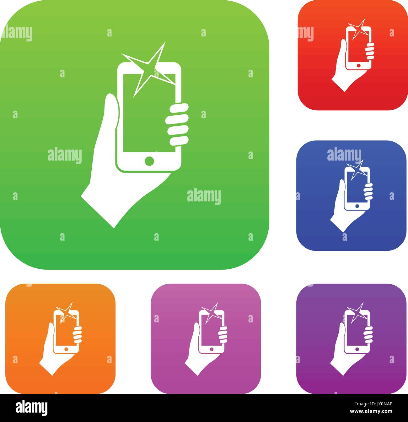 Hand photographed on mobile phone set collection - Stock Vector