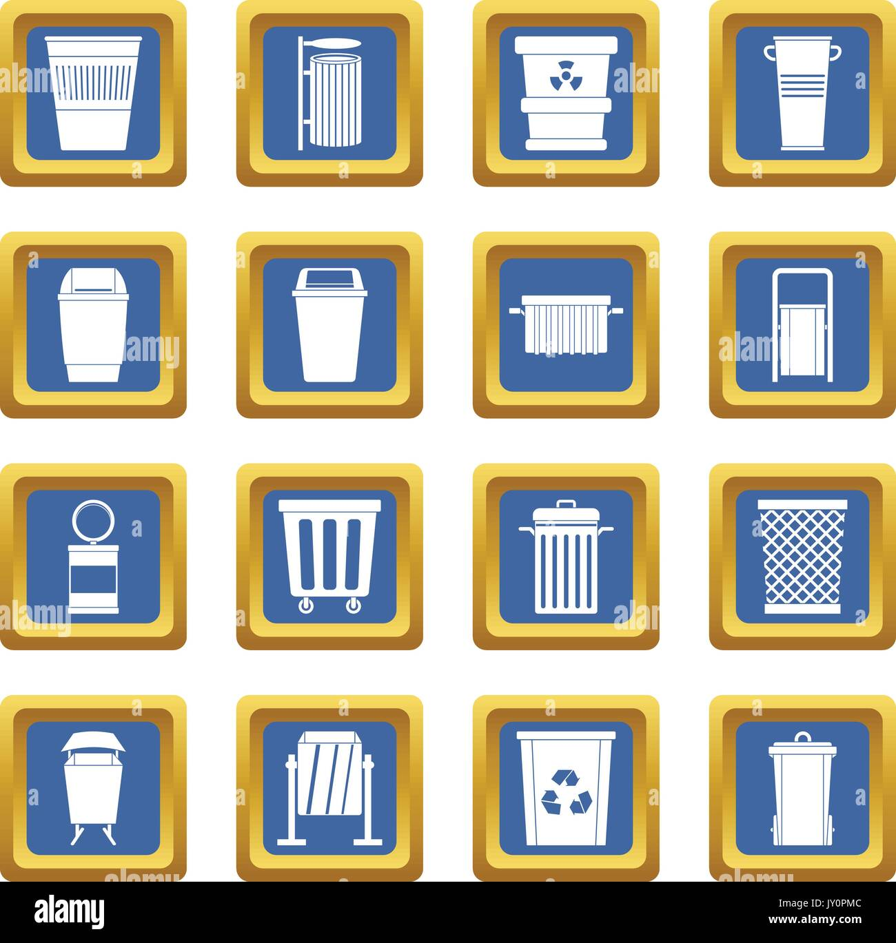 Garbage container icons set blue - Stock Vector