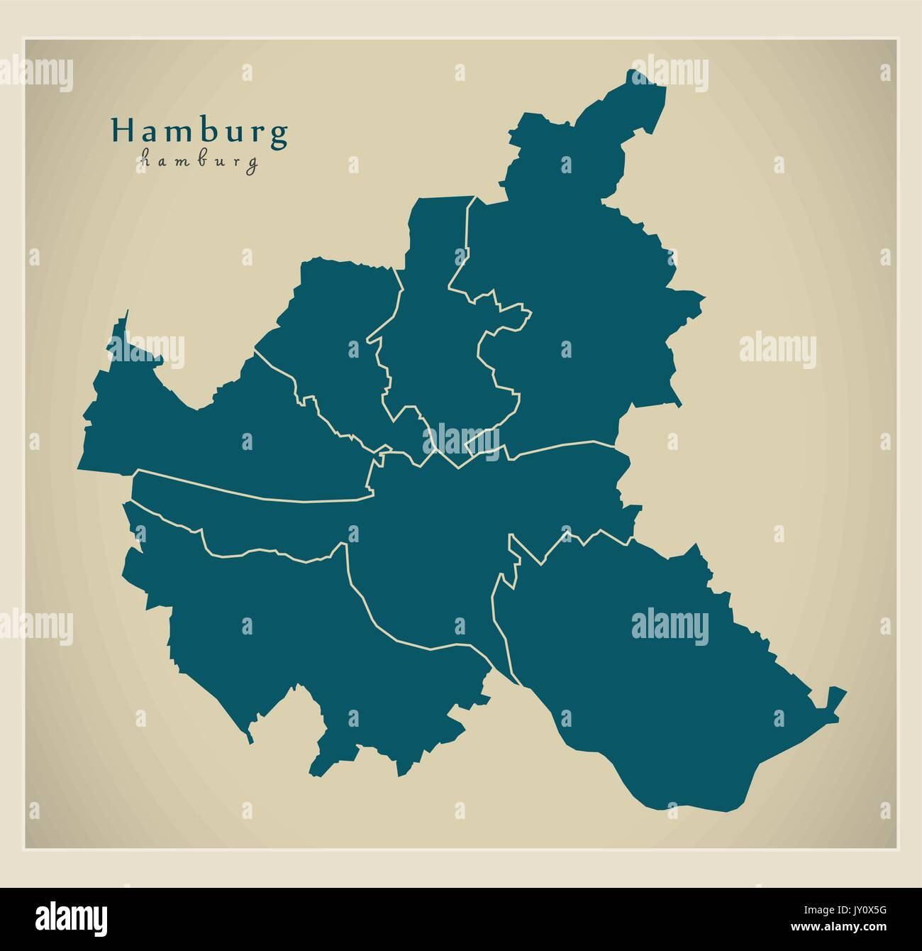 Map Of Germany Hamburg.Modern City Map Hamburg City Of Germany With Boroughs De Stock
