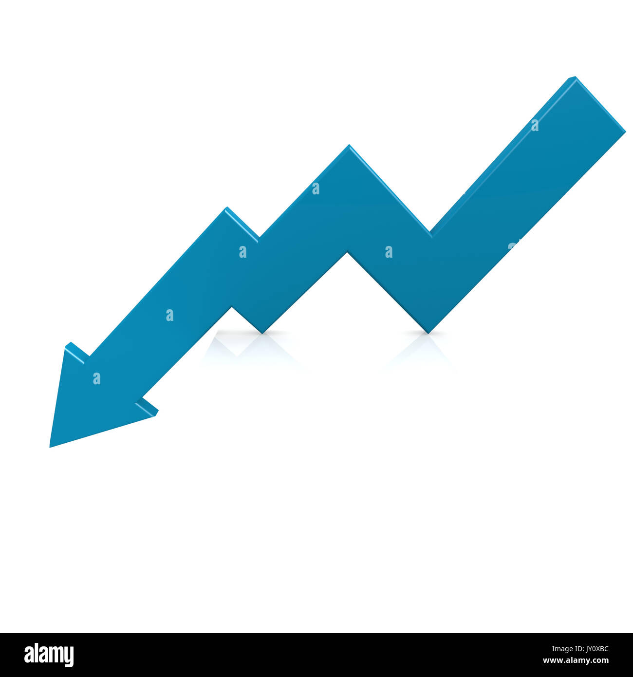 Crisis arrow blue image with hi-res rendered artwork that could be used for any graphic design. Stock Photo