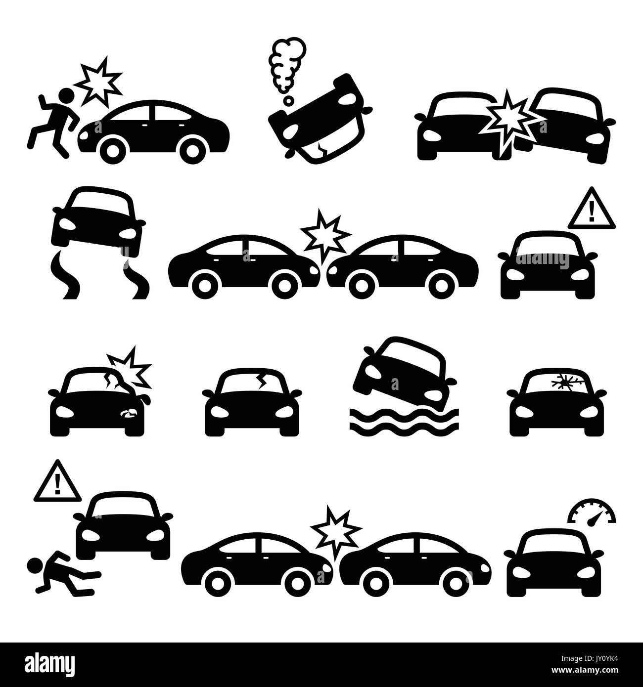 Road accident, car crash, personal injury vector icons set    Driver crushing car on road, auto wreck icons set isolated on white - Stock Image