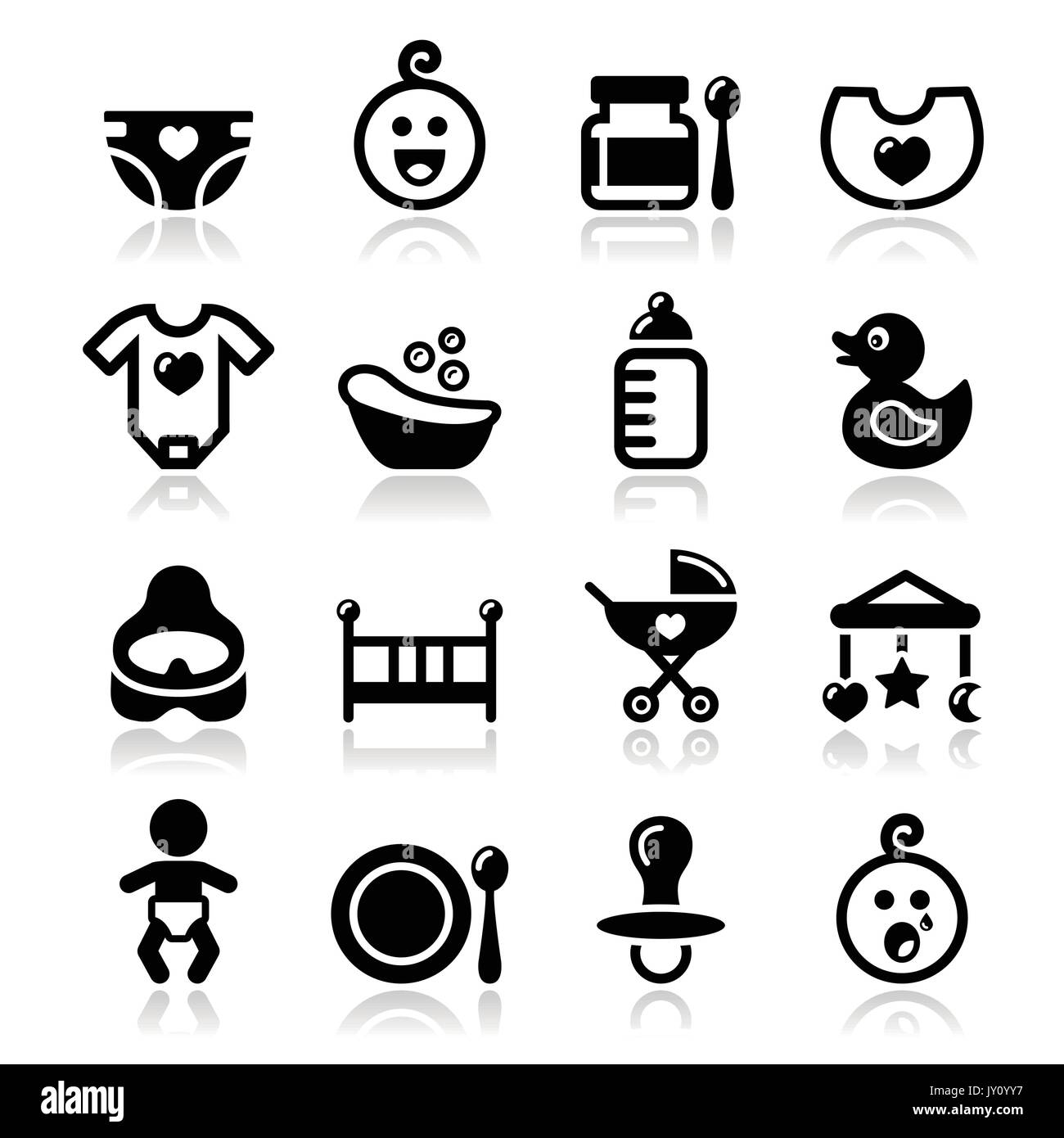 Baby , childhood vector icons set isolated on white  Modern black icons set with reflection - cute baby icons collection - Stock Image