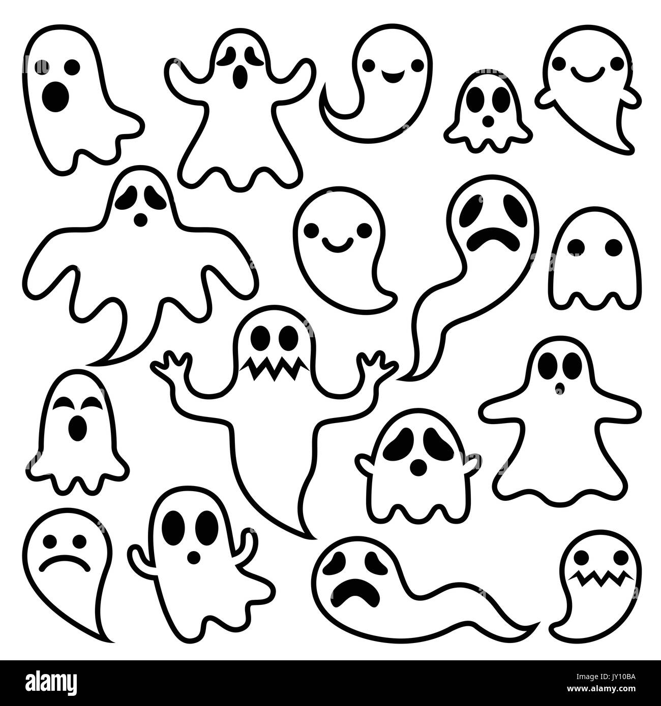 scary ghosts design  halloween characters icons set vector