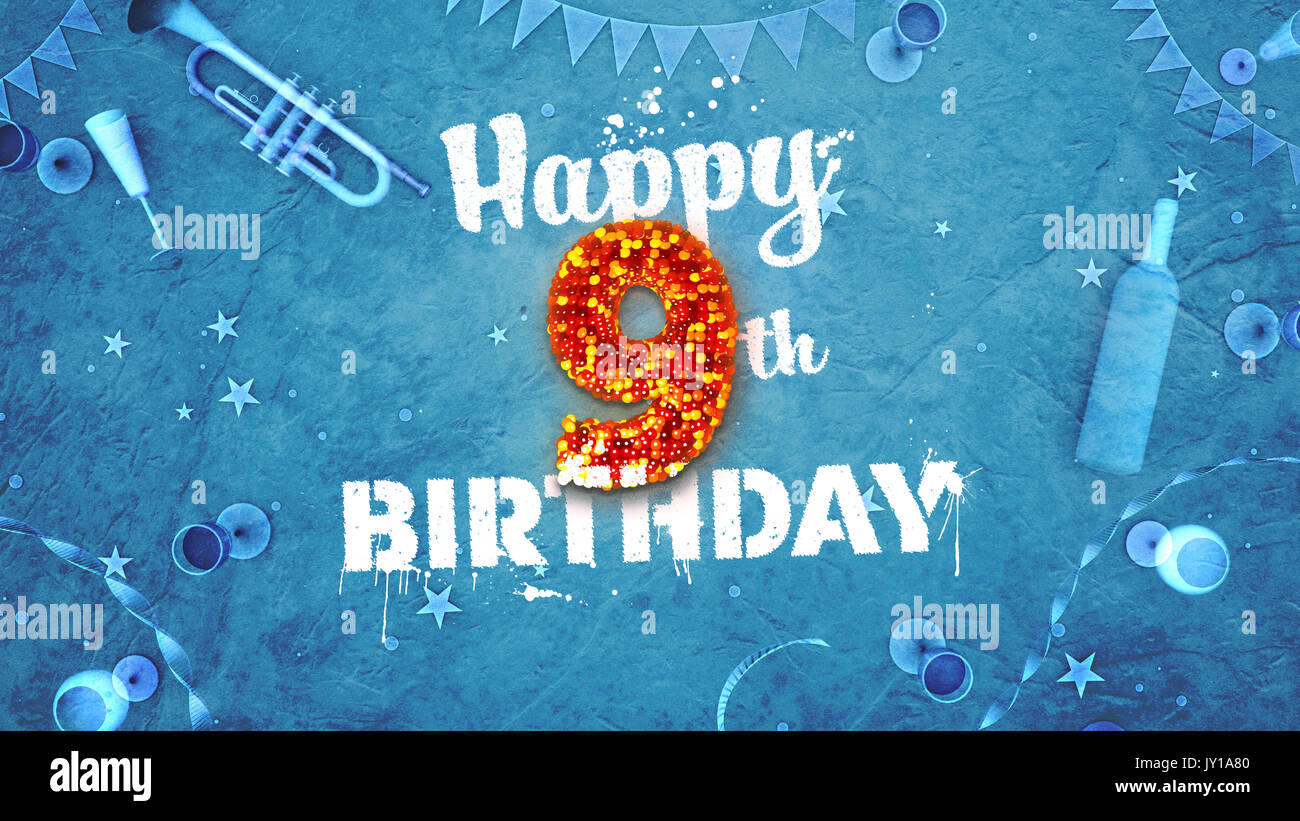 Happy 9th Birthday Card With Beautiful Details Such As Wine Bottle Champagne Glasses Garland Pennant Stars And Confetti Blue Background Red
