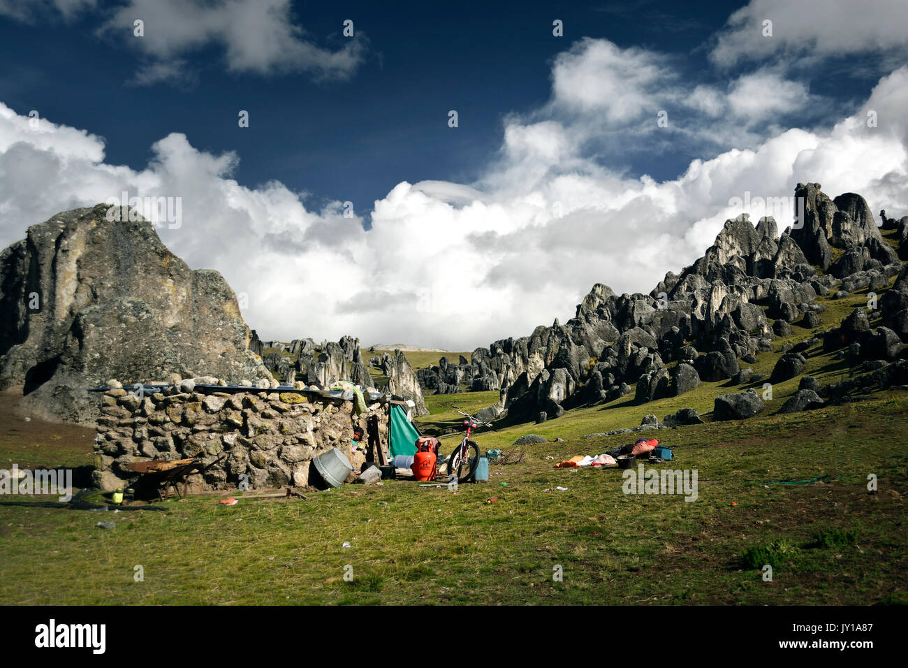 Stone house and stone forest in peru - Stock Image