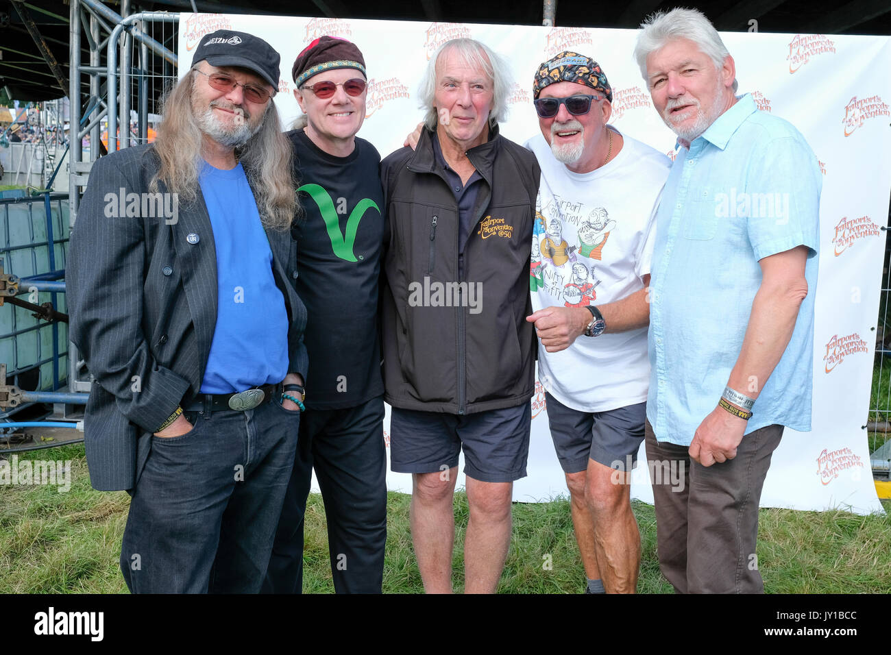 Fairport Convention backstage at Fairport's Cropredy Convention, Banbury, Oxfordshire, England, August 12, 2017 - Stock Image