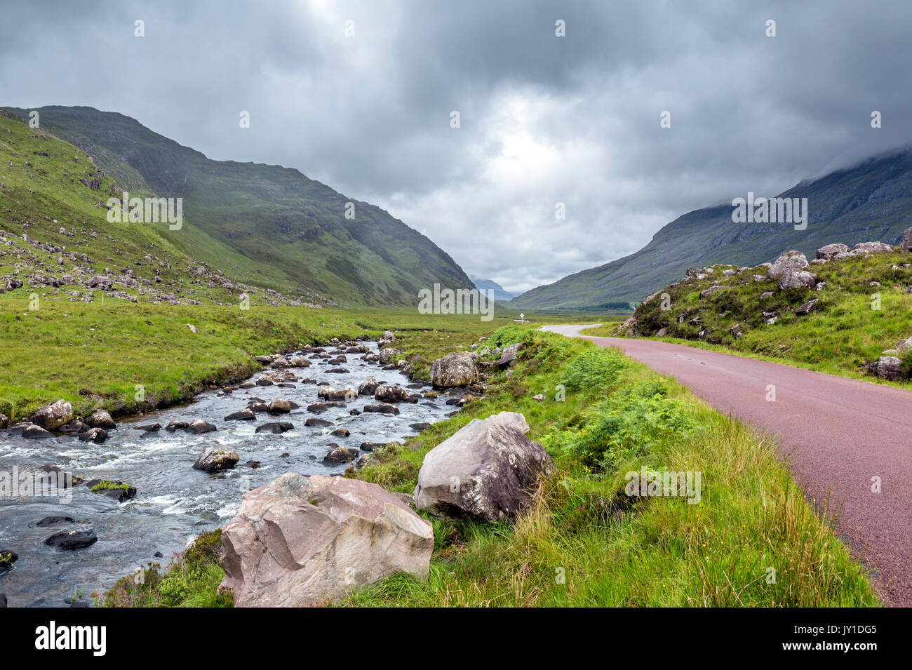 The A896 near Loch Torridan, part of the North Coast 500 scenic route, Ross and Cromarty, Highland, Scotland, UK - Stock Image