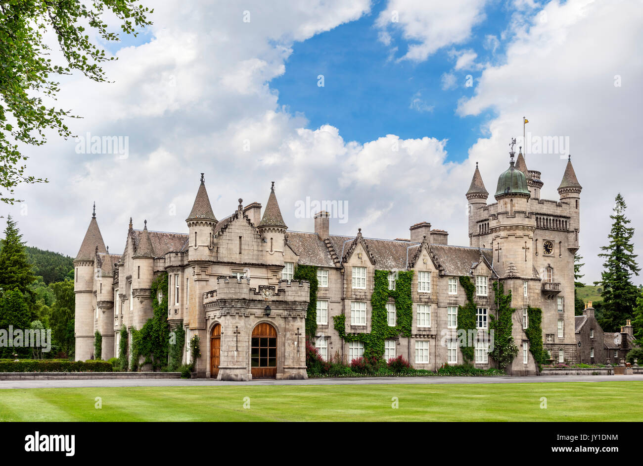 Balmoral Castle, Scottish residence of the Royal Family, Crathie, Royal Deeside, Aberdeenshire, Scotland, UK Stock Photo