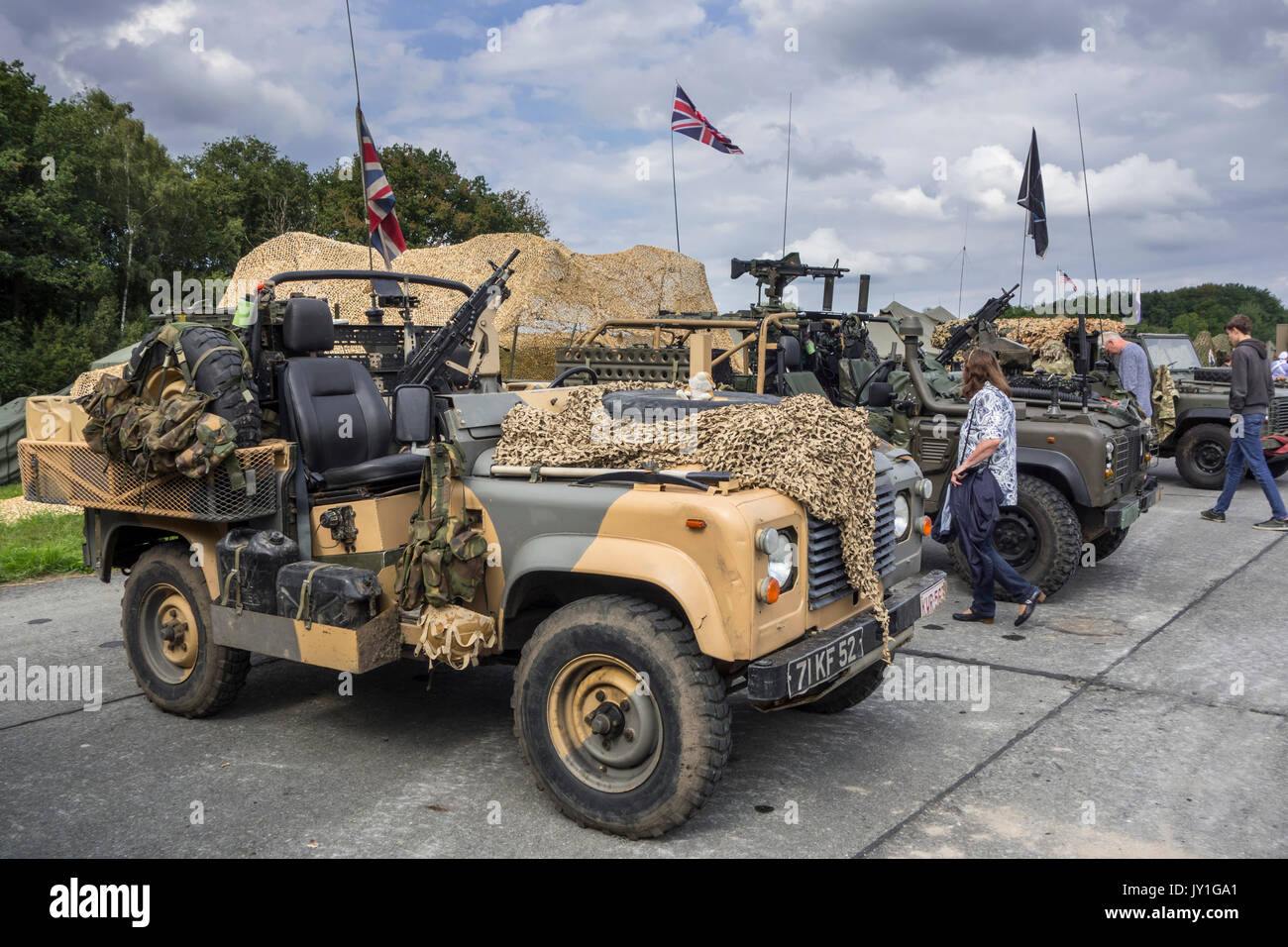 Armed military Land Rover 90, British army four-wheel-drive off-road vehicles at militaria fair - Stock Image