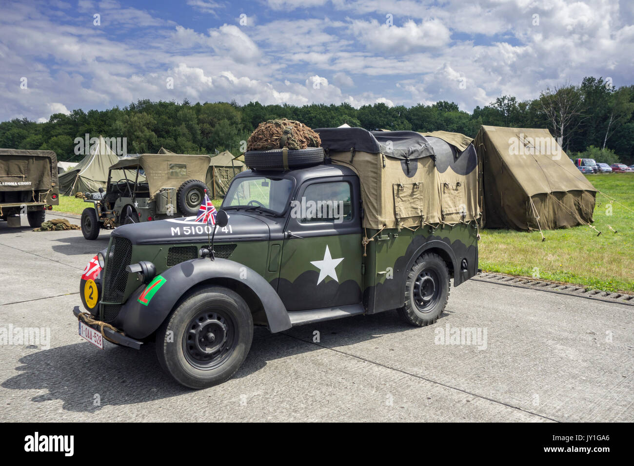 WW2 US army Hillman Light Utility Truck / military Hillman Tilly at World war Two militaria fair - Stock Image