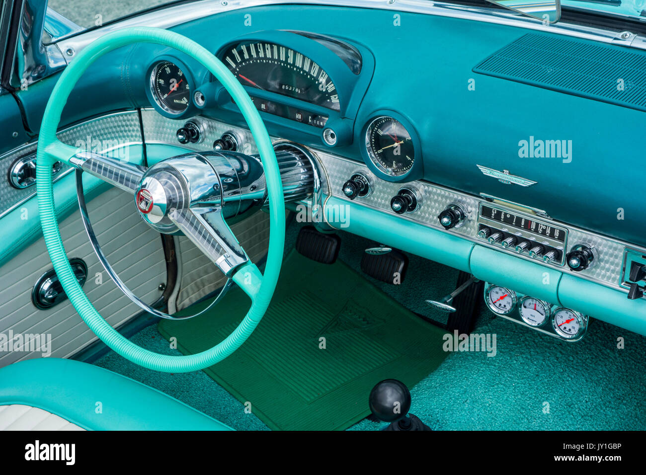 Ford Thunderbird American Car Stock Photos 1964 Dash Pad Vintage 1955 Interior Showing Steering Wheel And Dashboard In Teal Aqua Colors