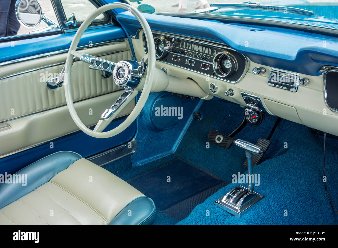 Vintage 1965 Ford Mustang Interior Showing Steering Wheel And Stock