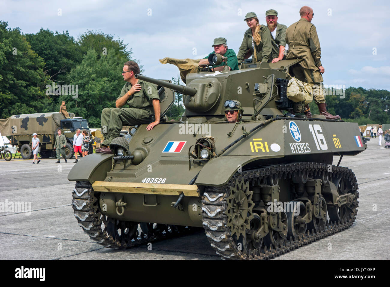 Free French M3A3 Stuart tank during WW2 military vehicles parade at Wold War Two militaria fair - Stock Image