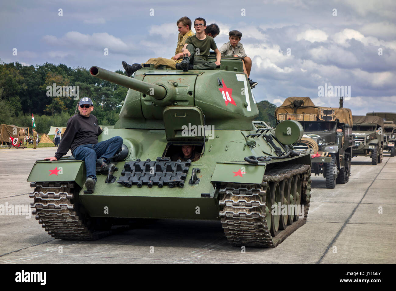T-34 Soviet medium tank during WW2 military vehicles parade at Wold War Two militaria fair - Stock Image