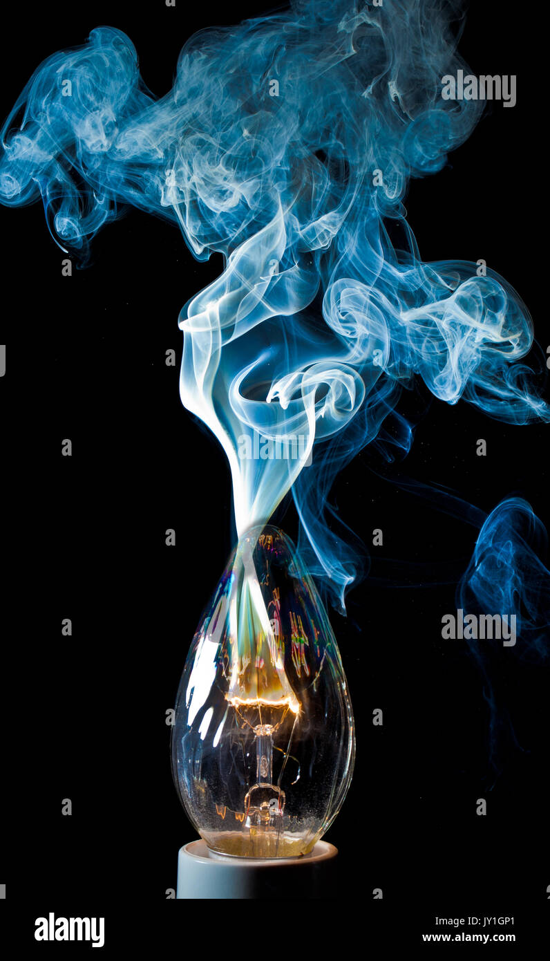 Electrical Short Circuit Stock Photos Light Bulb Death By Electricity An Element In A Igniting And Burning