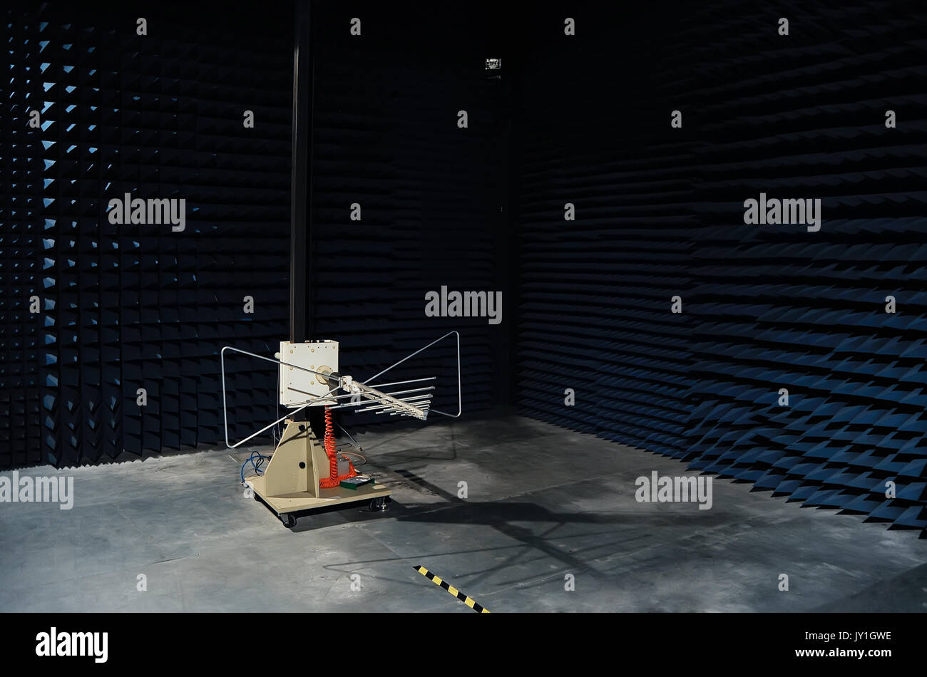 Testing of radio frequency products such as RF and ASK modules in soundproof lab - Stock Image