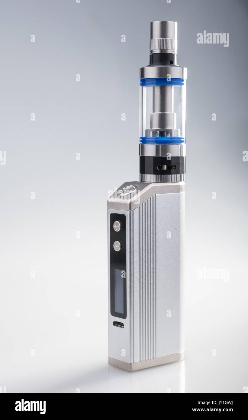 Box mod vaping device on gray background - Stock Image