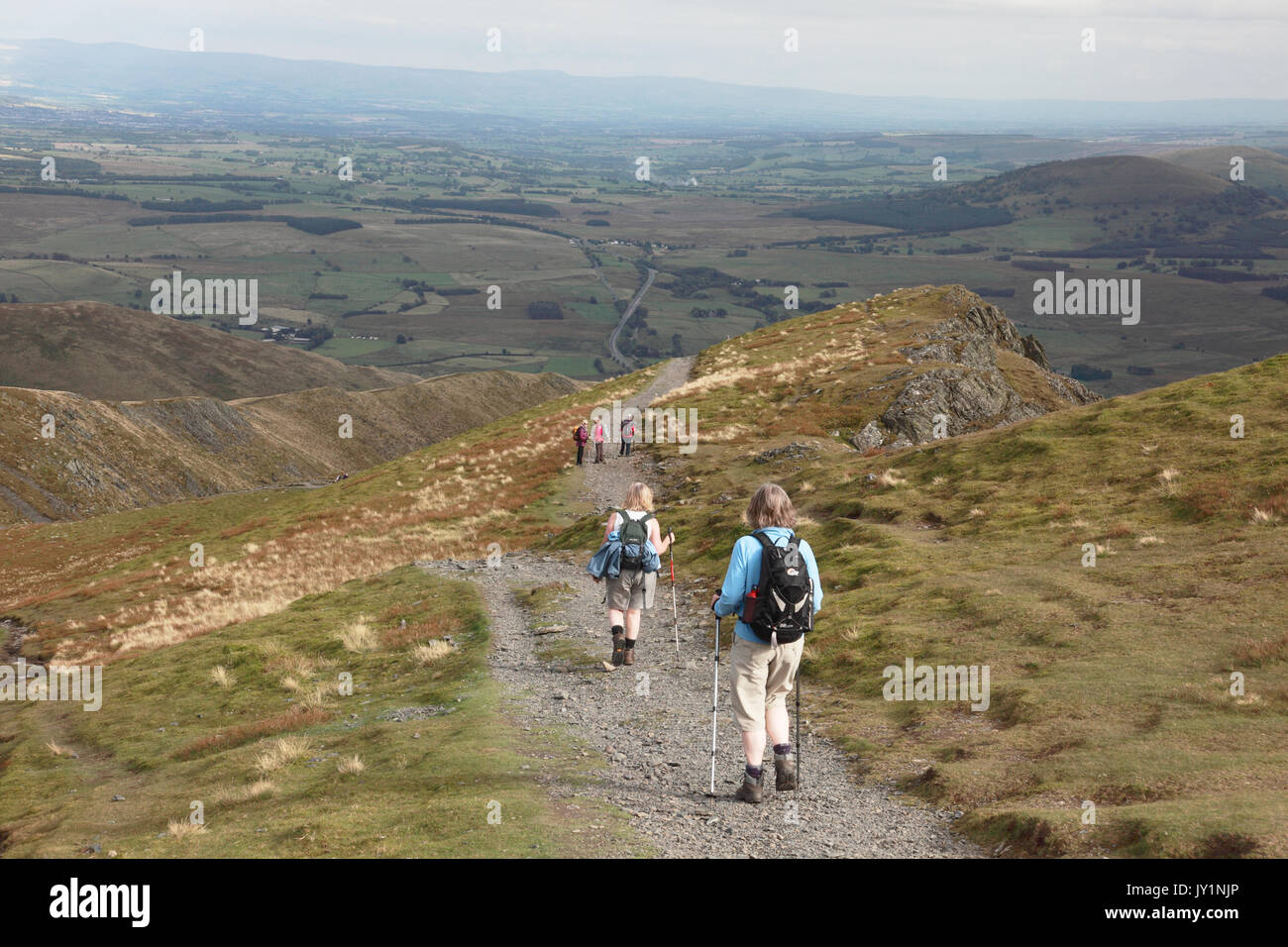 Descending Blencathra in the Lake District on the Scales Fell path, looking east towards the Pennines - Stock Image