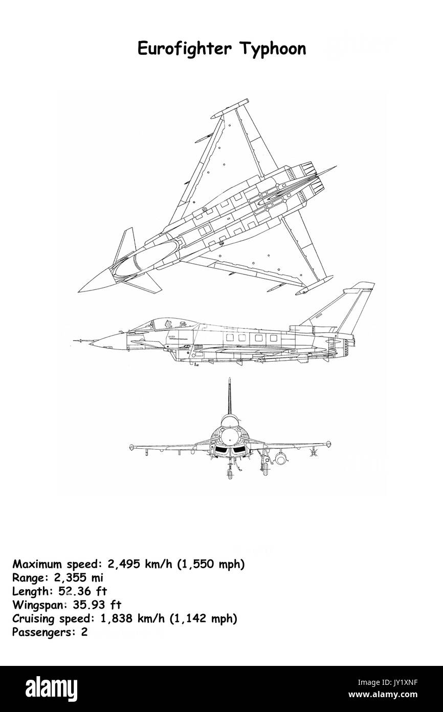 Aircraft Blueprint of The Eurofighter Typhoon is a twin-engine, canard-delta wing, multirole fighter. The Eurofighter Stock Photo