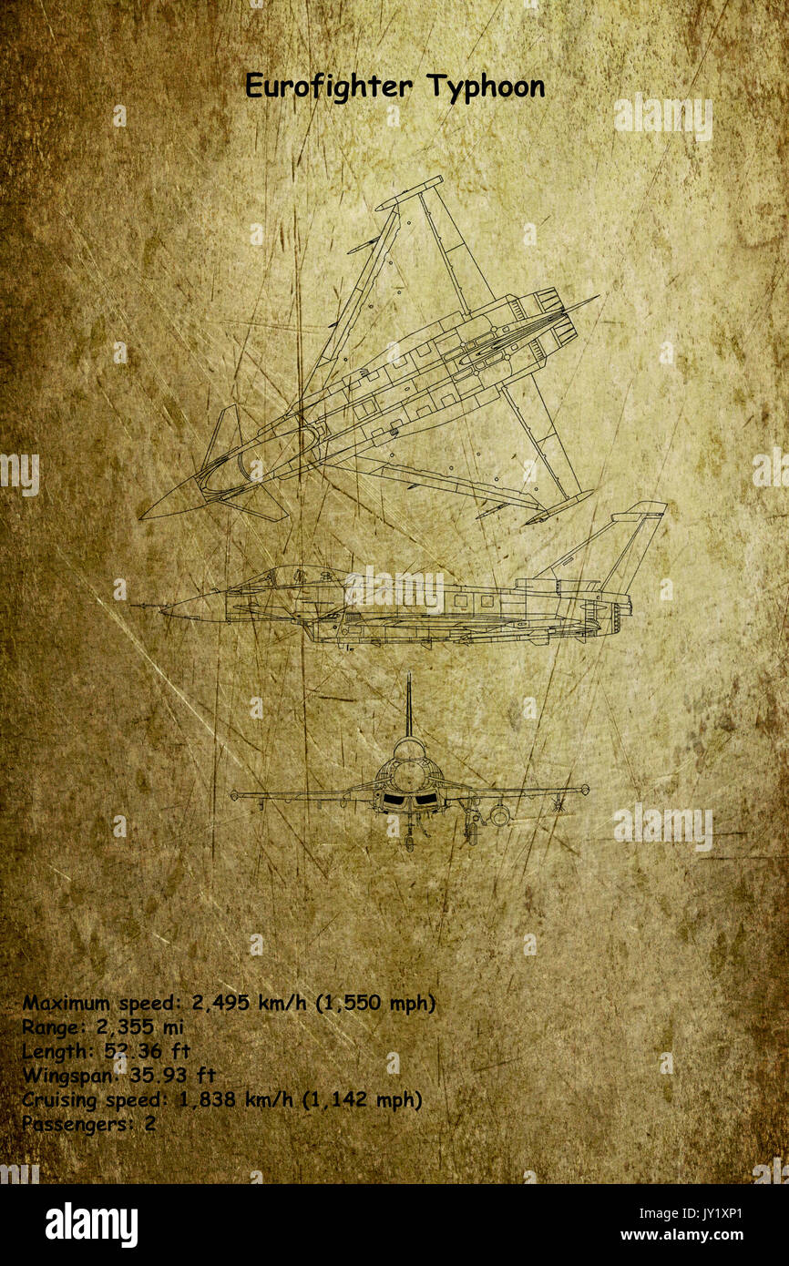 Aircraft Blueprint of The Eurofighter Typhoon is a twin-engine, canard-delta wing, multirole fighter. The Eurofighter Typhoon is a highly agile aircra - Stock Image