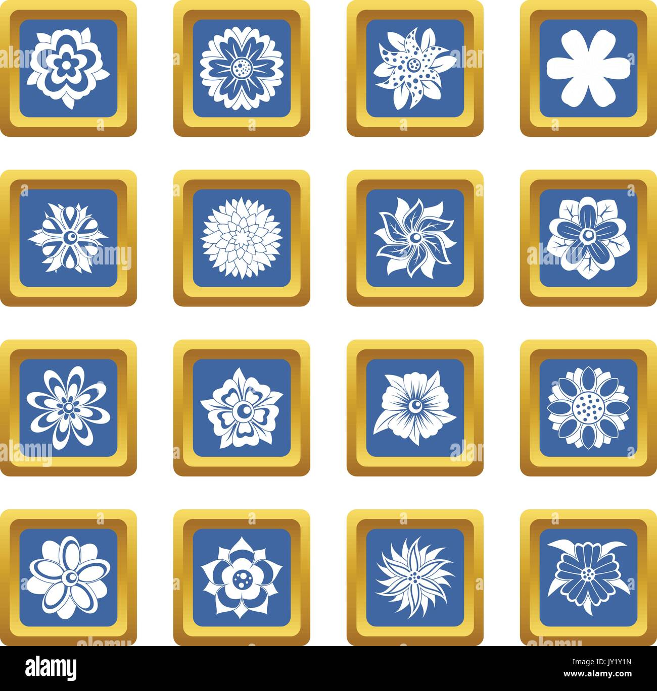 Different flowers icons set blue - Stock Image
