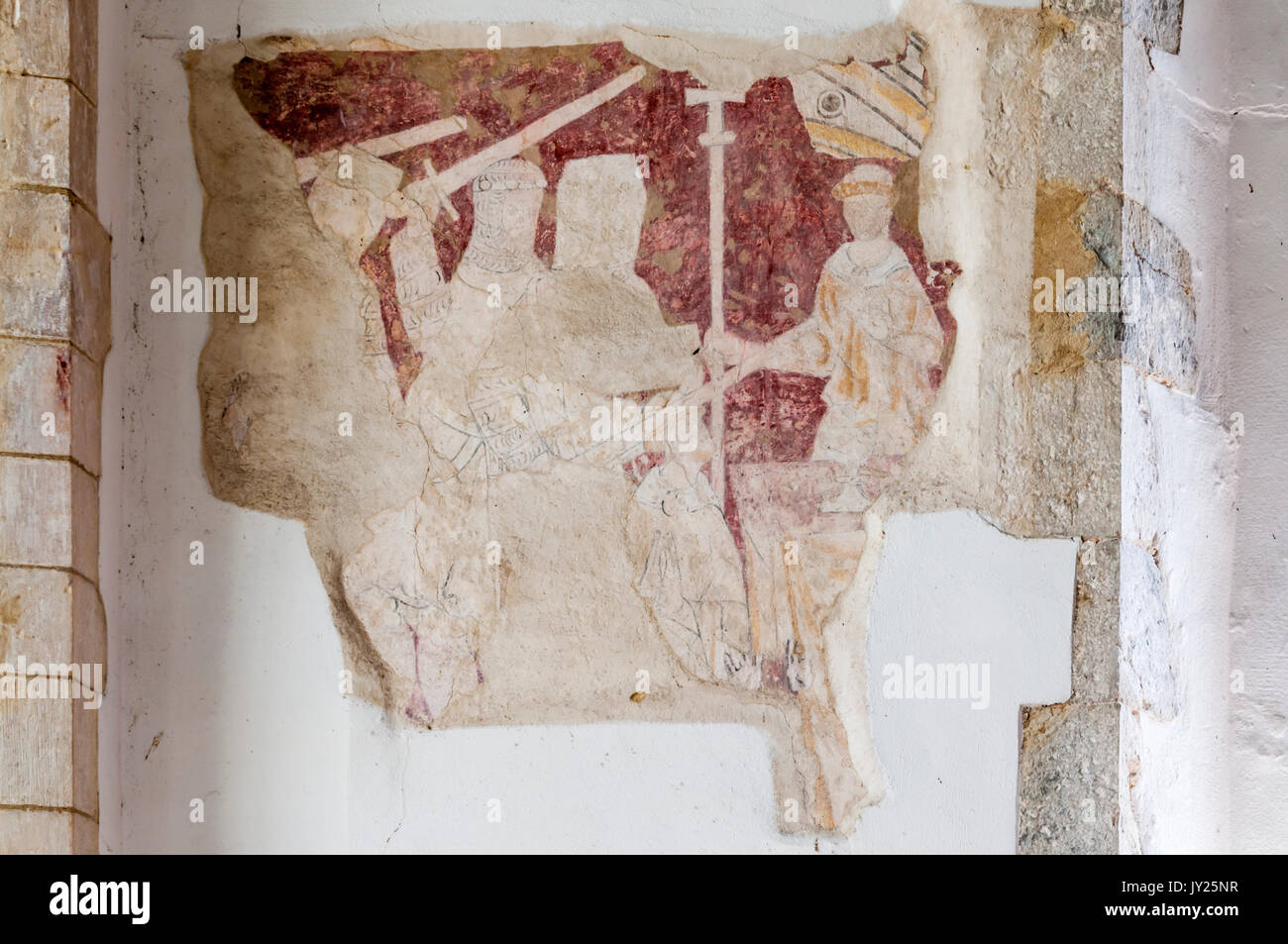 A fragment of a medieval wall painting in Brookland church on Romney Marsh showing the murder of Thomas a Becket - Stock Image