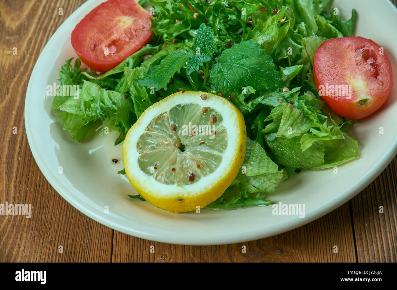 Turp otu salad - Spring salad from leaves of wild radish with garlic. Turkish cuisine - Stock Image