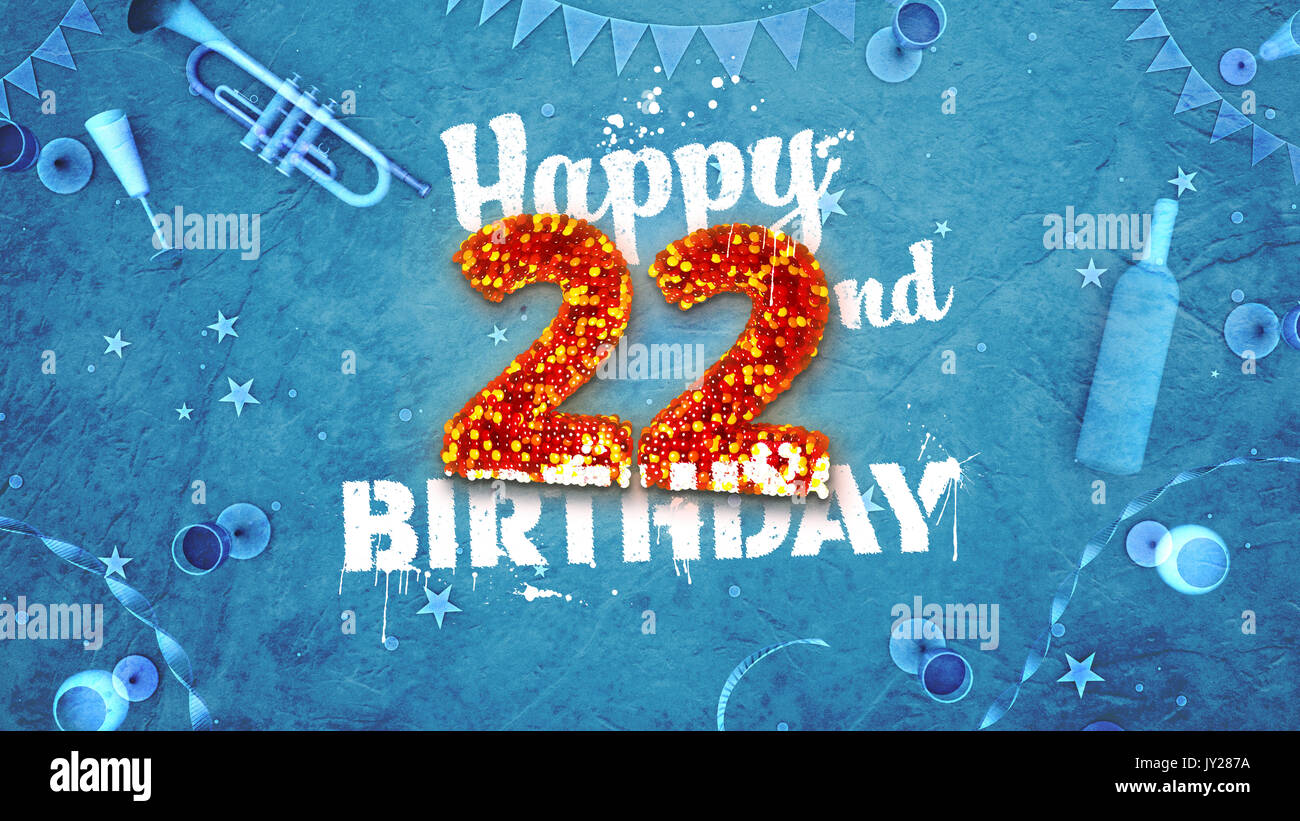 Happy 22nd Birthday Card With Beautiful Details Such As Wine Bottle Champagne Glasses Garland Pennant Stars And Confetti Blue Background Red