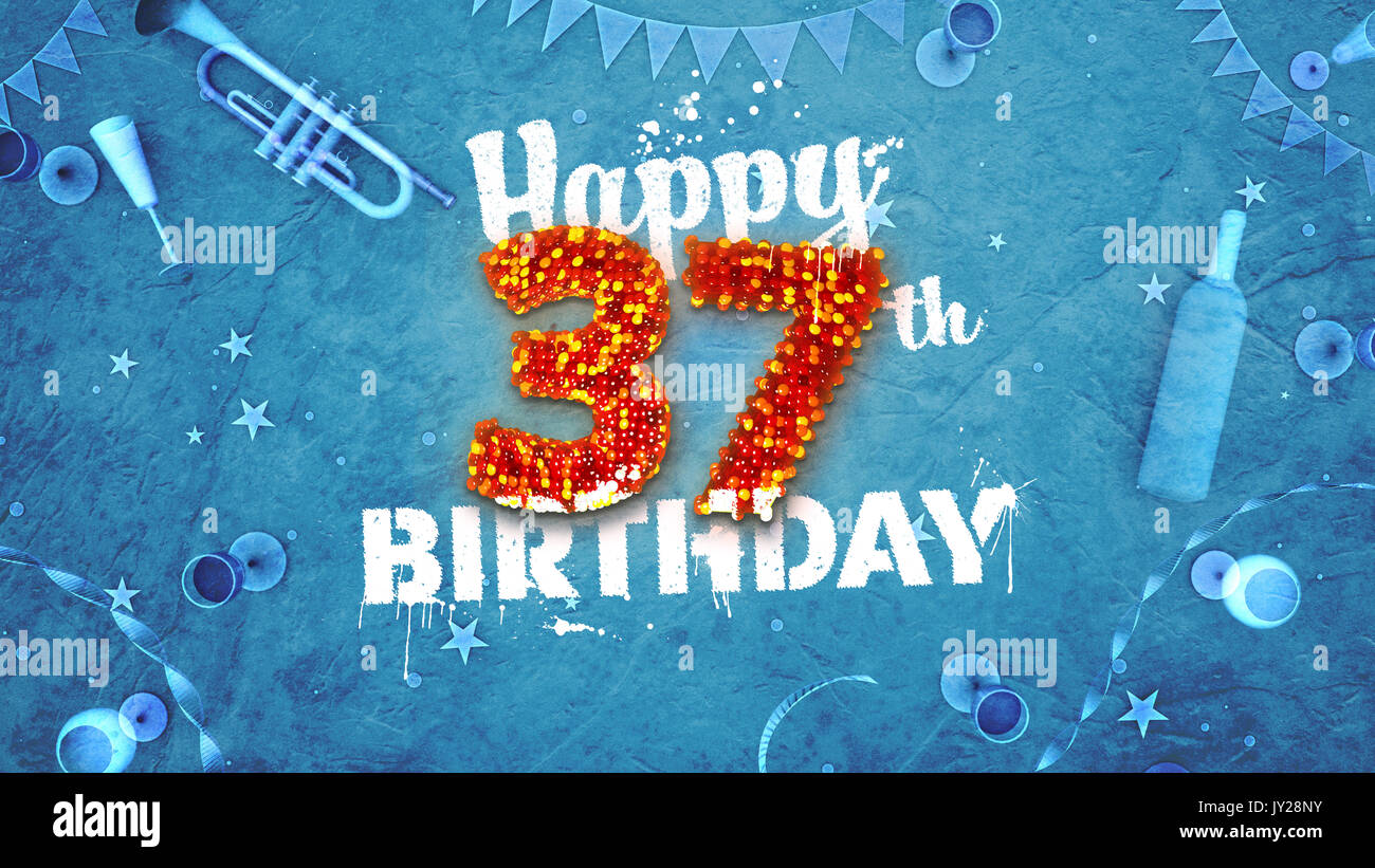 Happy 37th Birthday Card With Beautiful Details Such As Wine Bottle Champagne Glasses Garland Pennant Stars And Confetti Blue Background Red