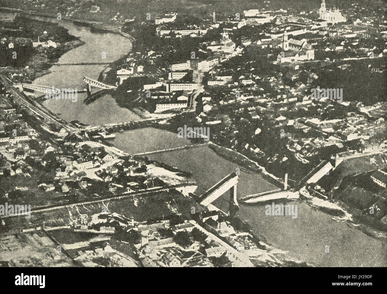 Aerial view destruction in Grodno, WW1 - Stock Image