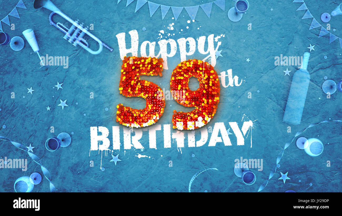 Happy 59th Birthday Card With Beautiful Details Such As Wine Bottle Champagne Glasses Garland