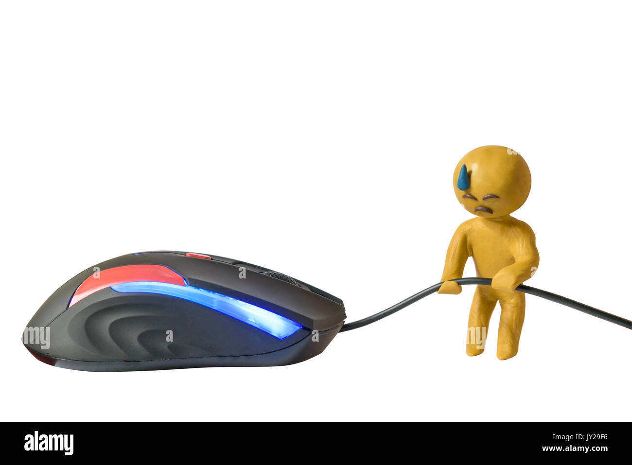 Plasticine human sweat emoji holds wire mouse white background - Stock Image