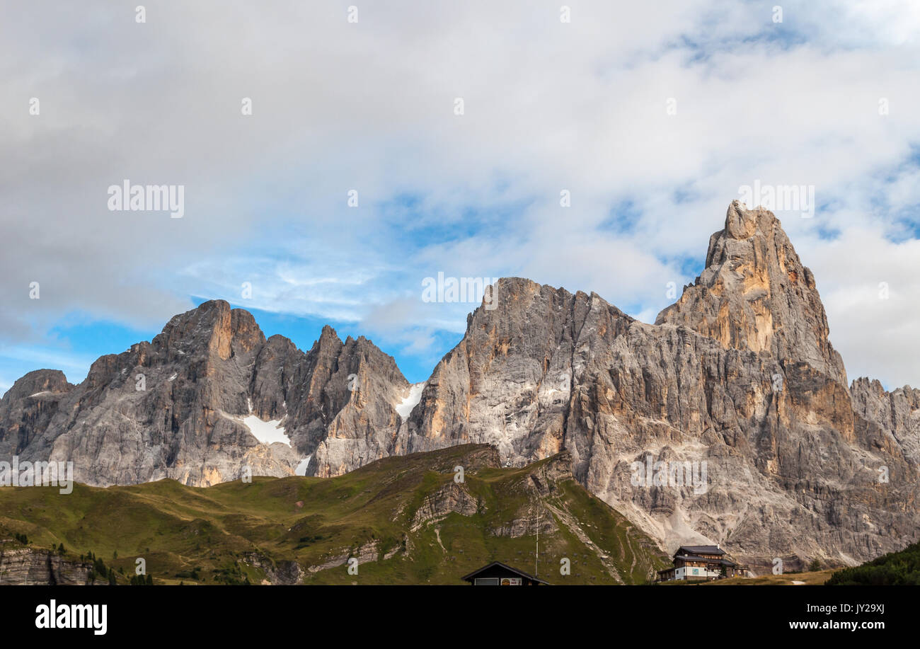 View of Dolomiti mountains from Passo Rolle, San Martino di Castrozza, Trentino-Alto Adige, Italy - Stock Image