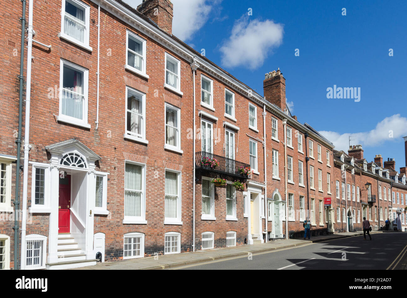 Tall Georgian houses in St John's Hill in Shrewsbury, Shropshire - Stock Image