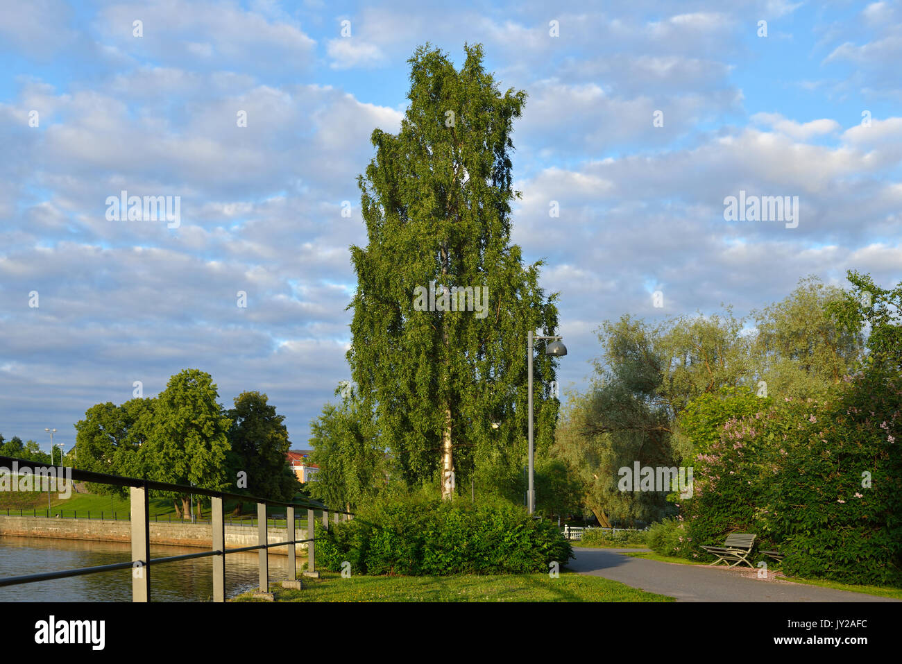 Park on waterfront in Oulu, Finland - Stock Image