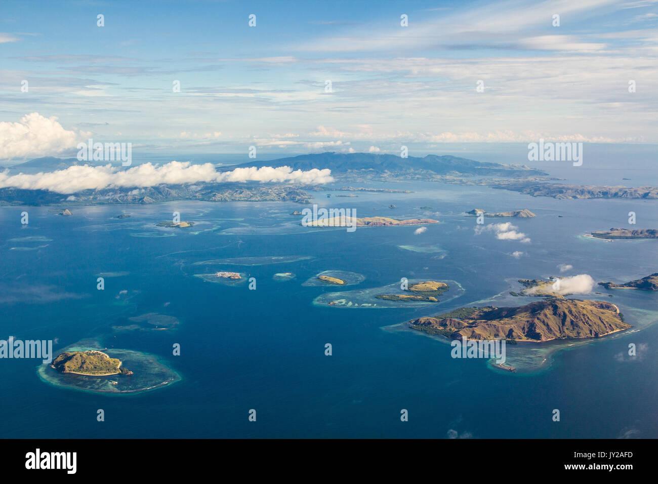 aerial photo of islands in komodo national park - Stock Image