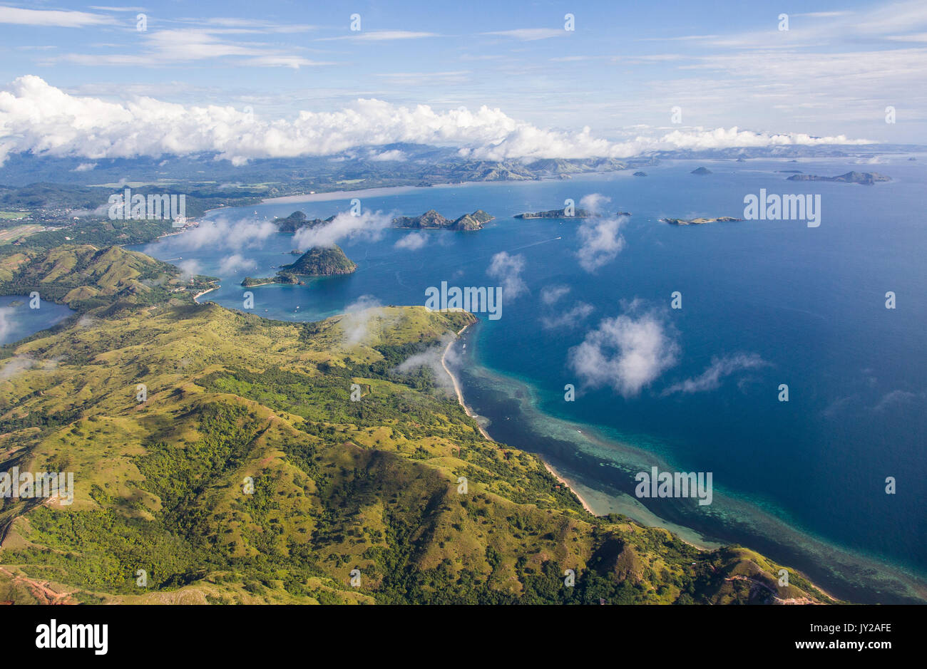 aerial photo of the west coast of flores island, near labuan bajo - Stock Image