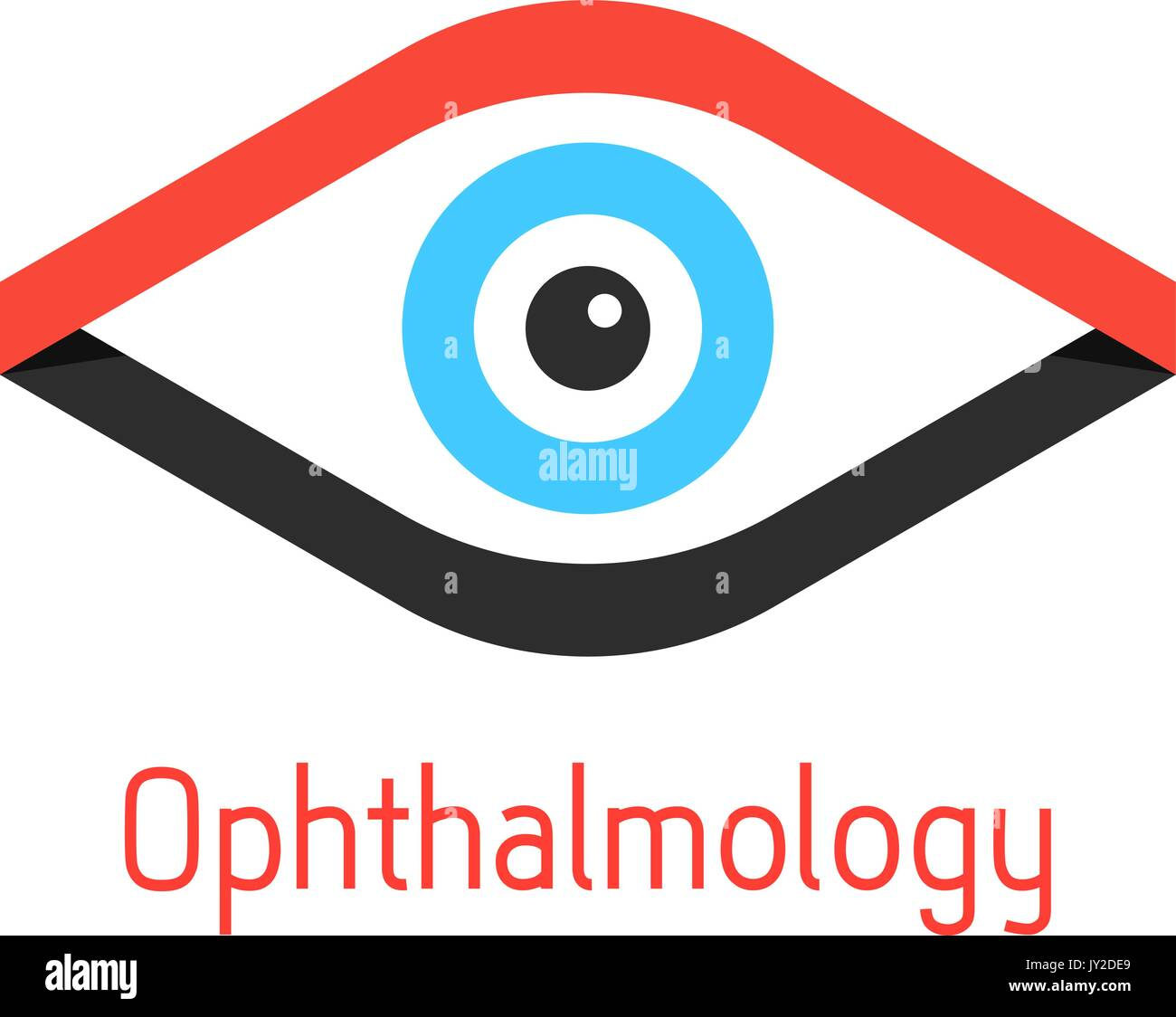 ophthalmology logotype with eye from ribbons - Stock Image