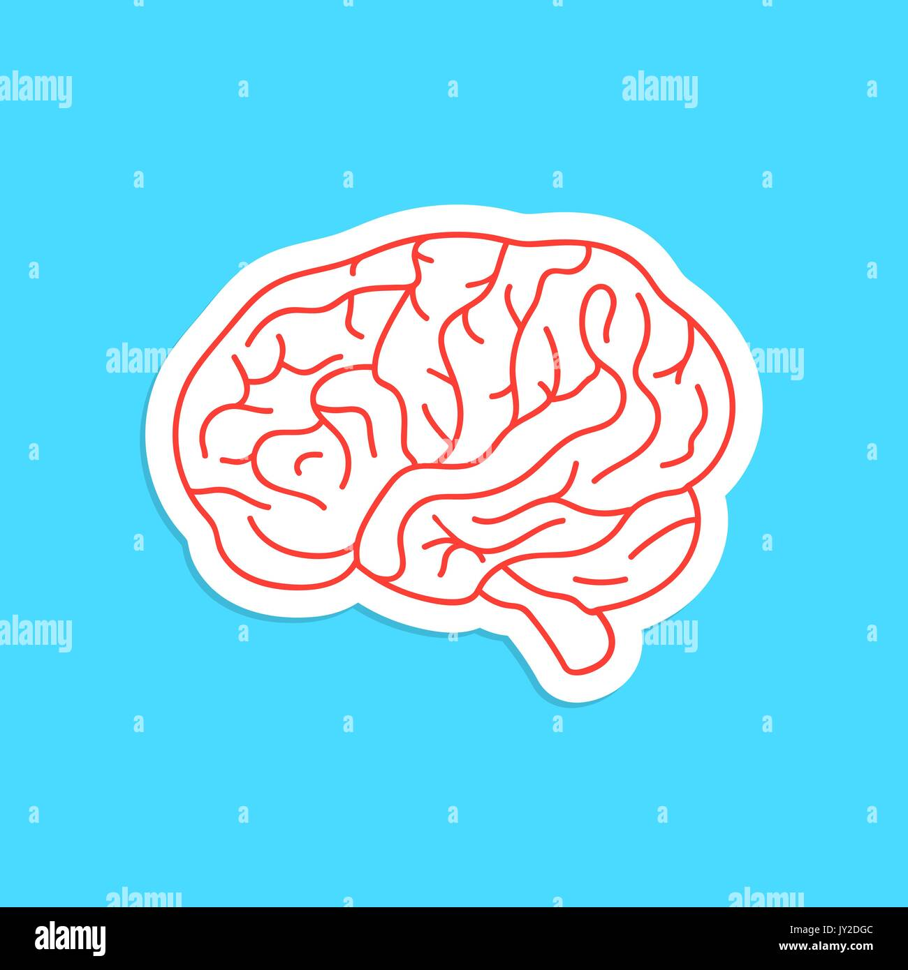 red outline brain icon sticker - Stock Image