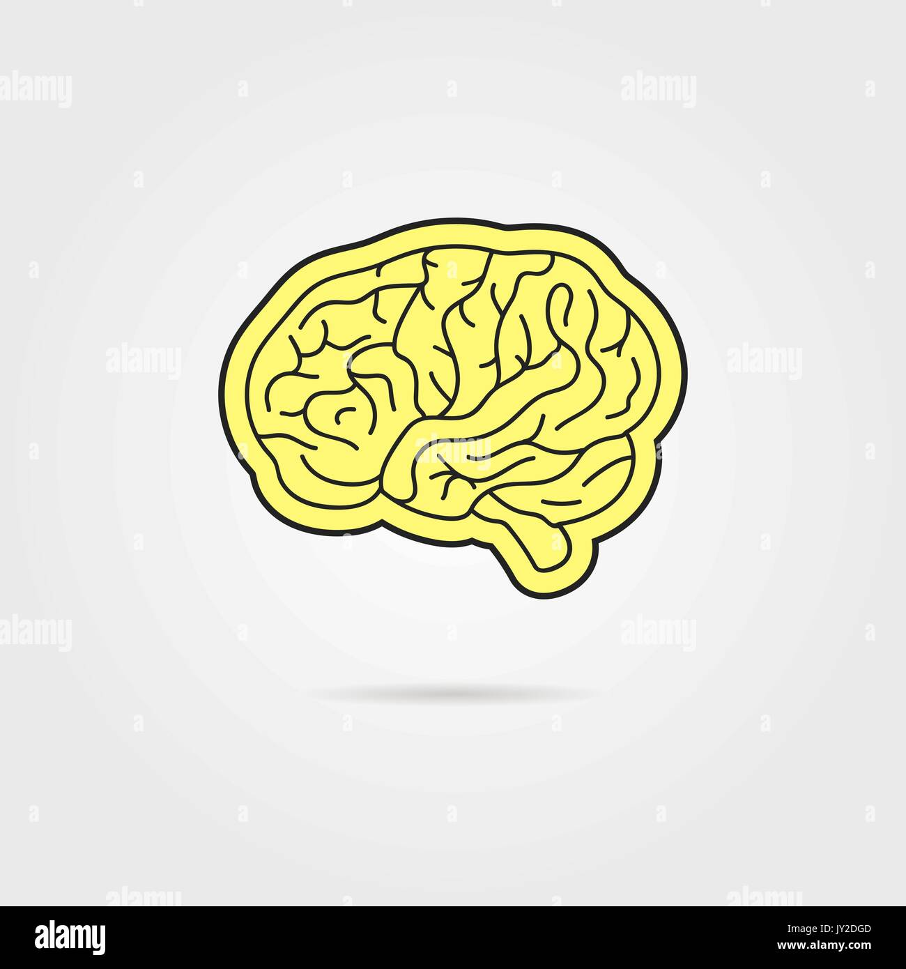 simple black and yellow brain - Stock Image