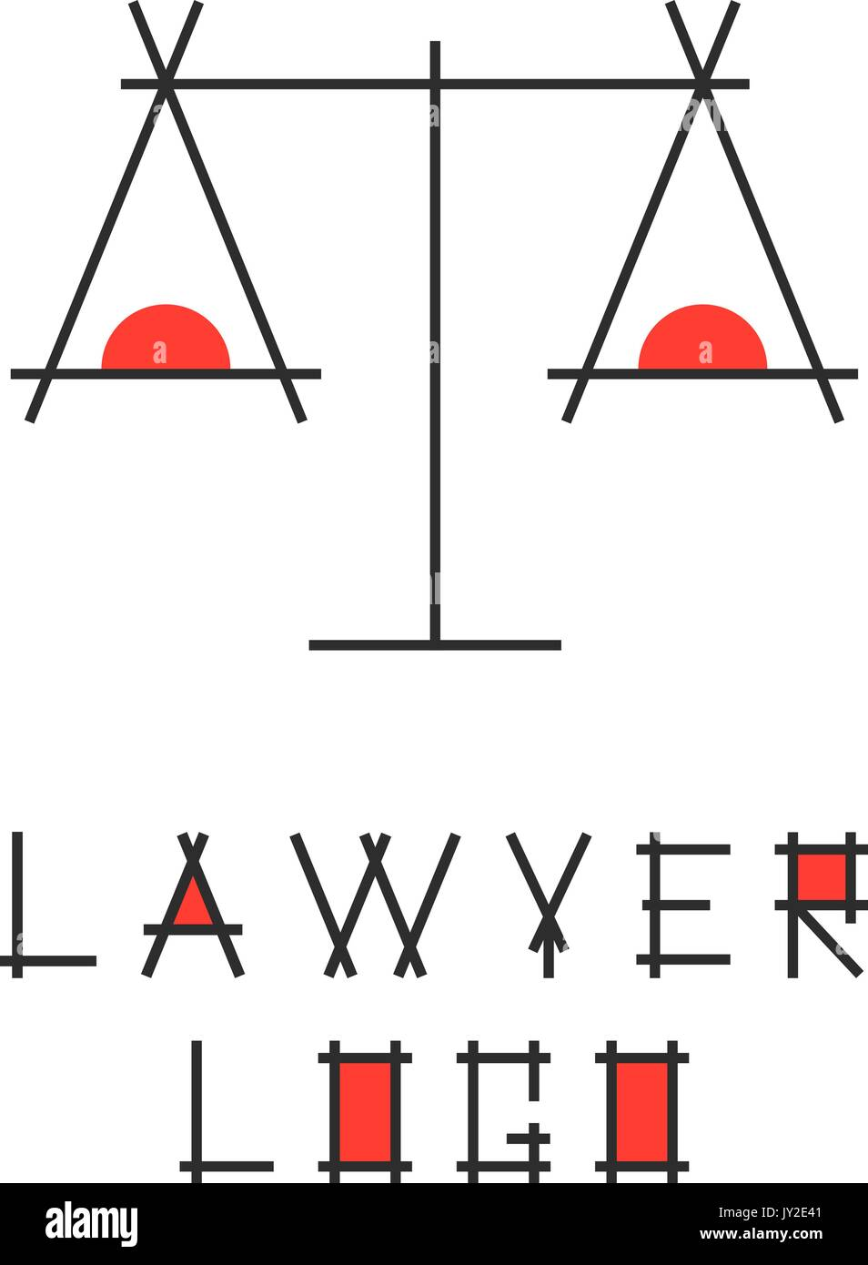 lawyer logotype with abstract scales - Stock Vector