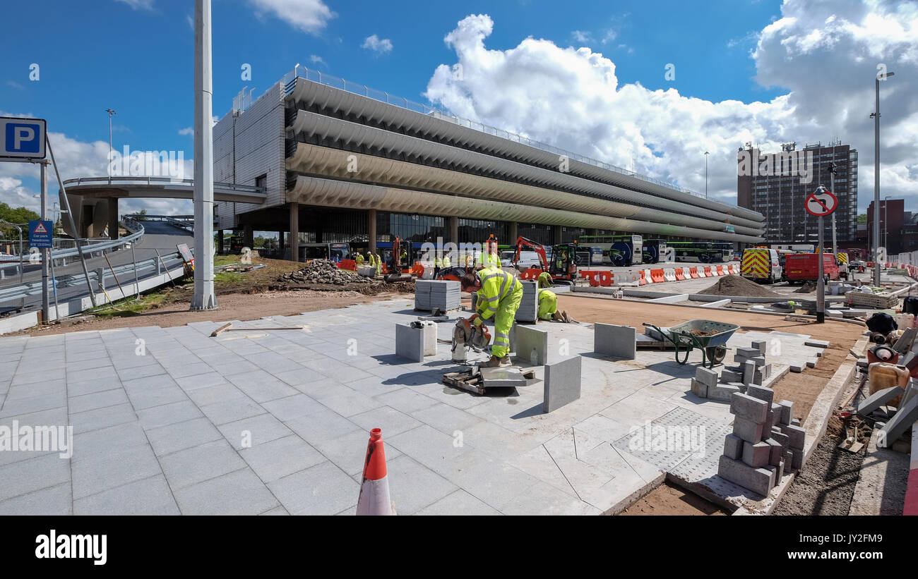 Construction work ongoing at Preston Bus Station. An example of Brutalist architecture that is now a listed building. - Stock Image