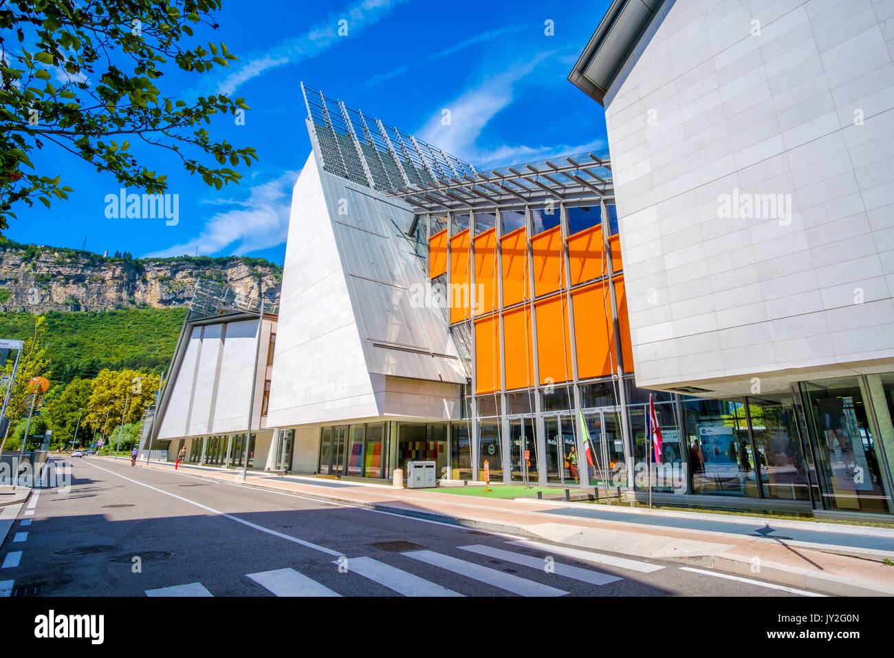 Trento, Italy, 14 Aug 2017: exterior of MUSE modern museum of natural history - building designed by famous architect Renzo Piano - Stock Image
