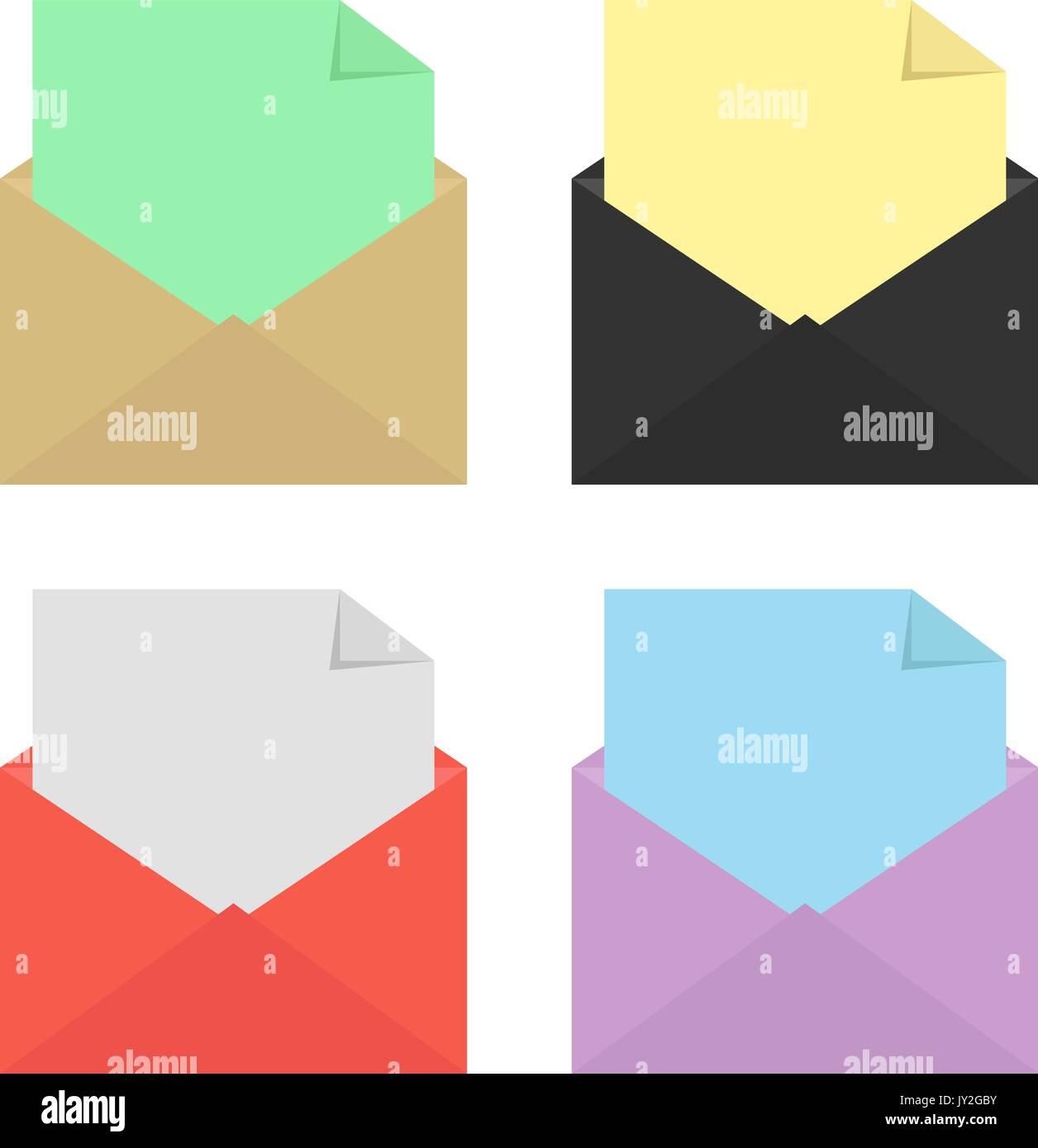 set of four open colored envelopes - Stock Vector