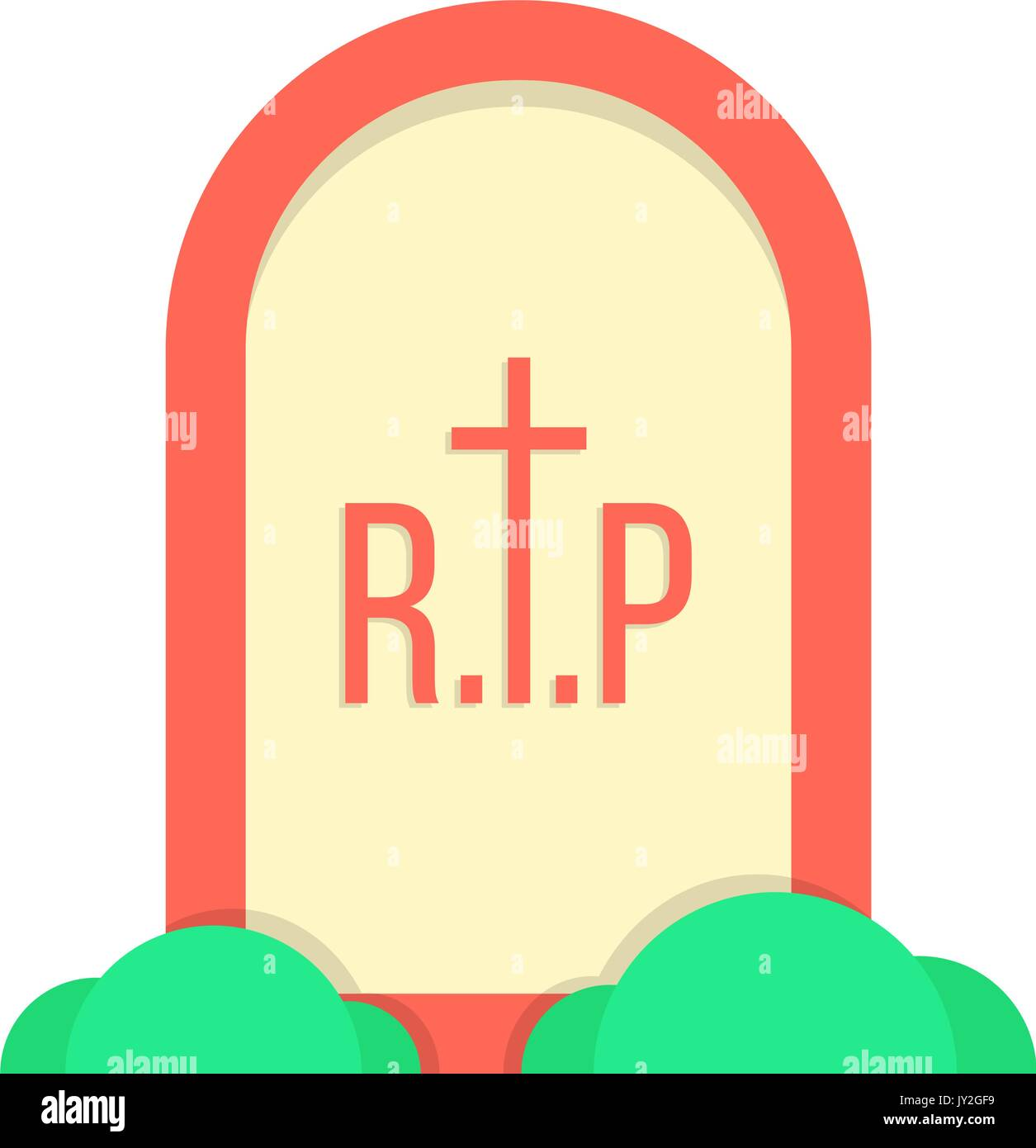 red grave icon with bushes - Stock Vector