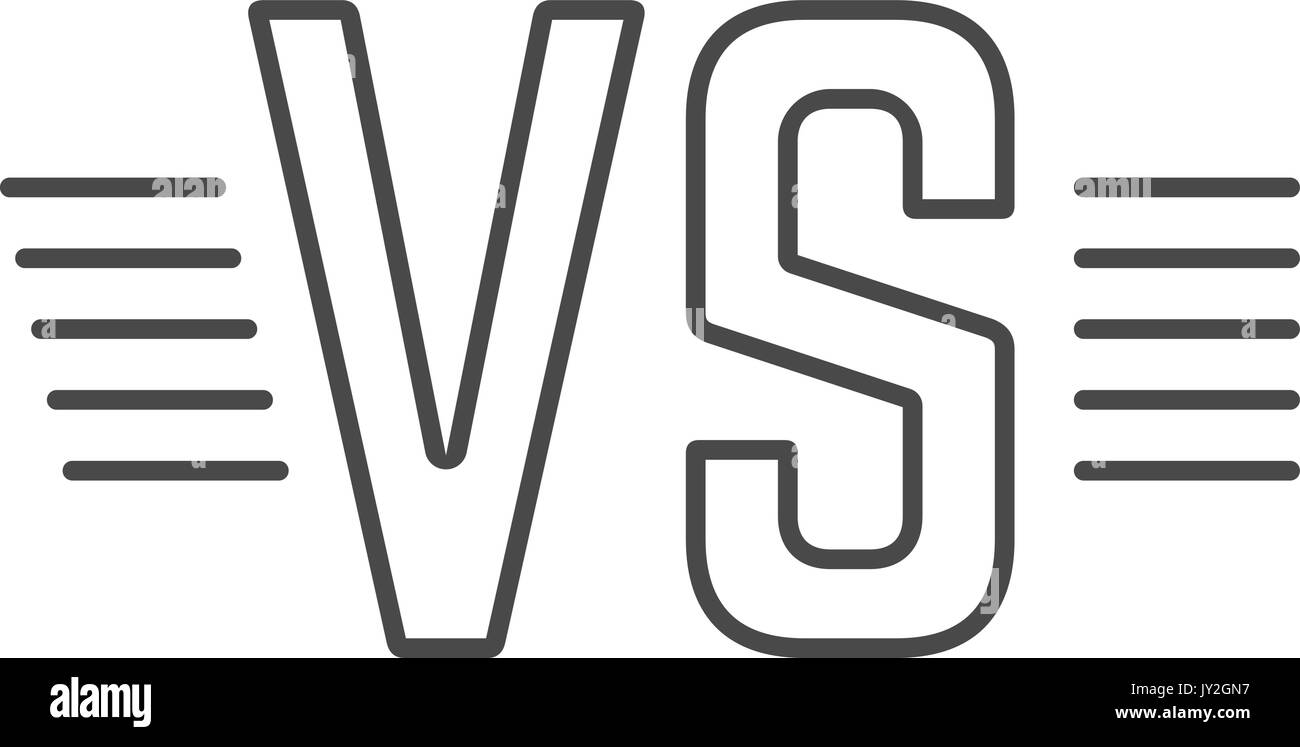 grey outline versus sign like opposition - Stock Vector