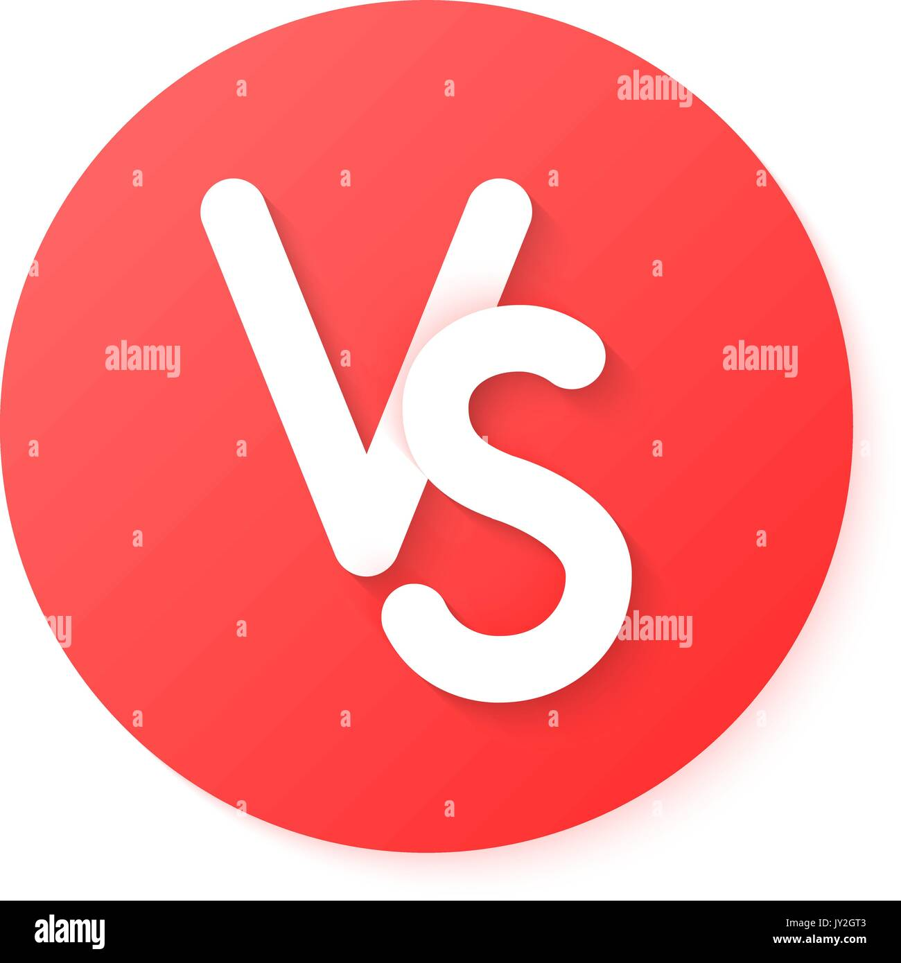 red circle versus emblem like confrontation - Stock Vector